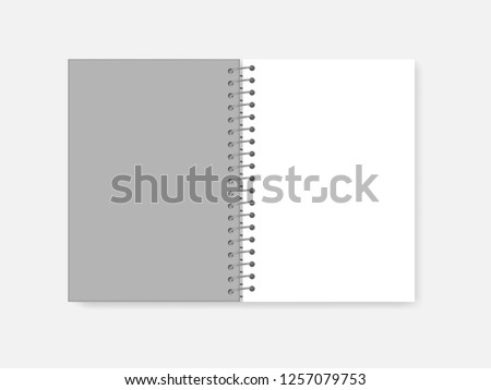 Open spiral A4 notebook, realistic vector mock-up. Wire bound blank white page notepad, template. Gray hard plastic cover diary spread, mockup.