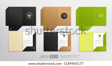 Open Stationary A4 Folder Branding Identity Mockup set with concept of lion in crown logo template. Black and green cardboard Document Folder set for corporate identity presentation. Vector template