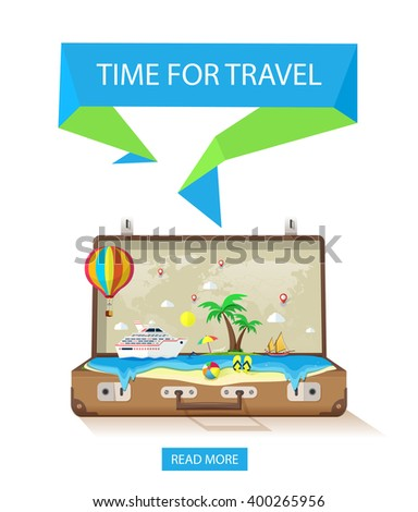 Open suitcase with exotic island in ocean on a white background for travel and tourism.