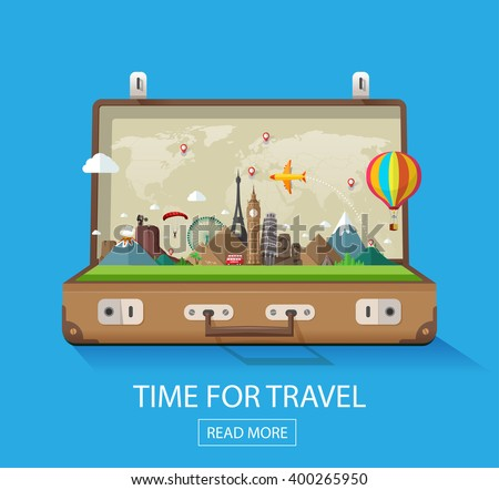 Open suitcase with famous landmarks on a blue background for travel and tourism.