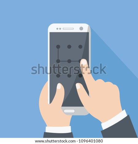 open, swipe & slide mobile security vector modern concept. enter pass code screen isolated graphic. points code on creative cell phone touch. business man hand holding smart phone flat design cartoon