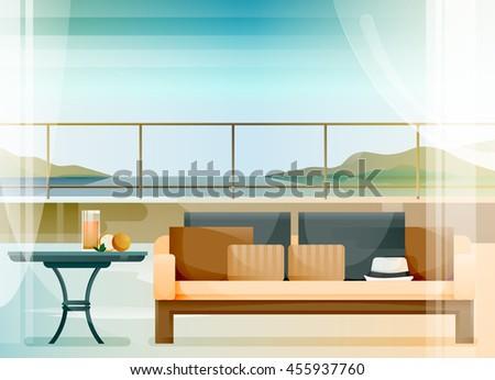 open terrace at the seaside in
