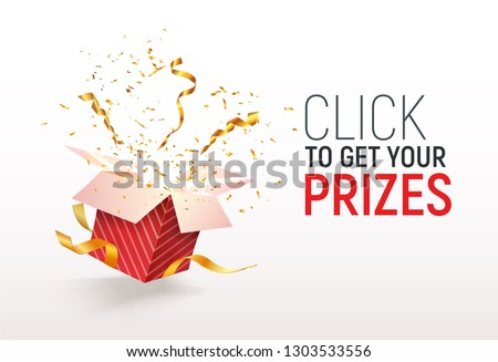 Open textured red box with confetti explosion inside. Click to get your prizes text. Flying particles from giftbox vector illustration on white background