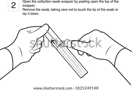 Open the collection swab wrapper by peeling open the top of the wrapper. Remove the swab, taking care not to touch the tip of the swab or lay it down. Step 2, line drawing