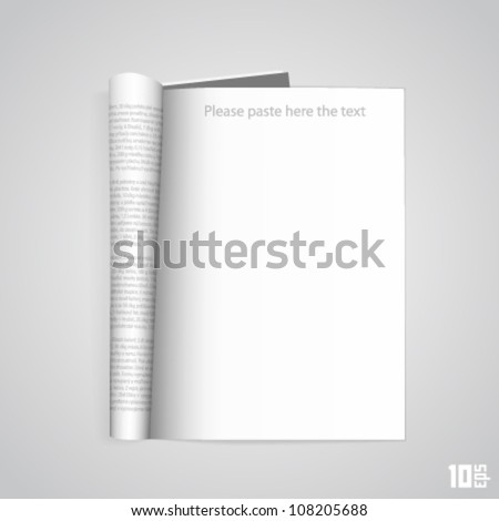 Open the paper journal, Paper Journal, Blank magazin on a white background, Page template design element, Vector illustration