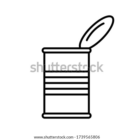 Open tin can with lid, side view. Linear canned goods icon. Illustration of preserves, ready-made food industrial production. Contour isolated vector, white background. Cylindrical grooved metal jar Stock photo ©