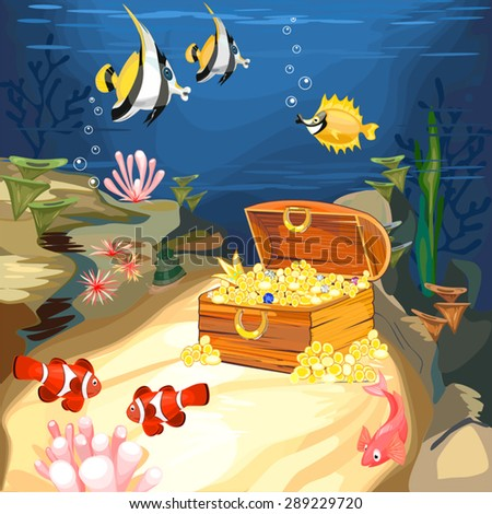 open treasure chest with gold underwater