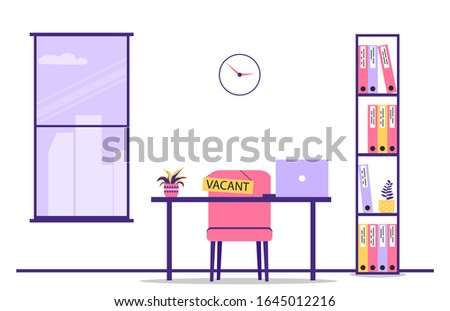Open vacancy. Workplace. Empty workplace. Search for staff. Employment Opportunity, Employment Opportunity Concept. Vector illustration in a flat style on an isolated background.