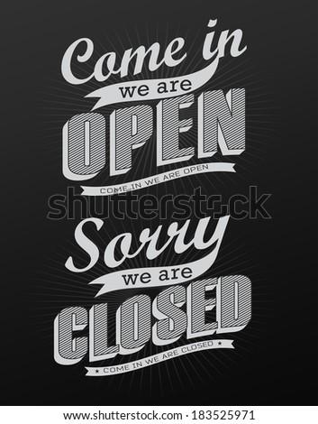 Open Vintage retro signs  vector illustration