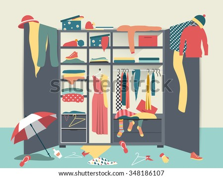 open wardrobe closet with