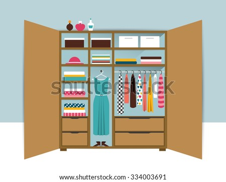 Open wardrobe. Wooden closet with tidy clothes, shirts, sweaters, boxes and shoes. Home interior. Flat design vector illustration.