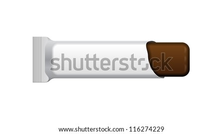Open White Blank Foil Packaging Plastic Package Of Chocolate Bar. Sachet, Sweets Or Candy Pack. Ready For Your Design. Snack Product Packing Vector EPS10