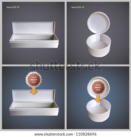 Open white box for insert object. Collection vector design.