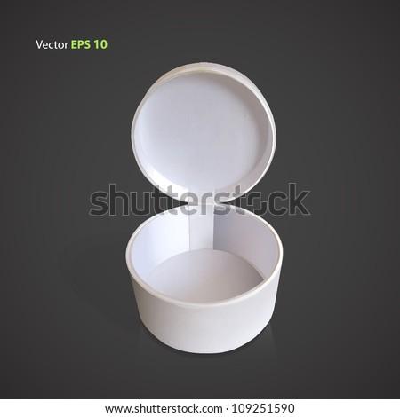 Open white box. Vector illustration.