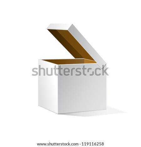 Open White Cardboard Carton Gift Box, Brown Inside. Illustration Isolated On White Background. Vector EPS10