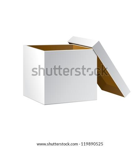 Open White Cardboard Carton Gift Box, Brown Inside. Illustration Isolated On White Background. Vector EPS10