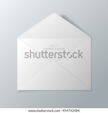 Open white envelope. Vector realistic mockup isolated from the background. Easy to change colour.