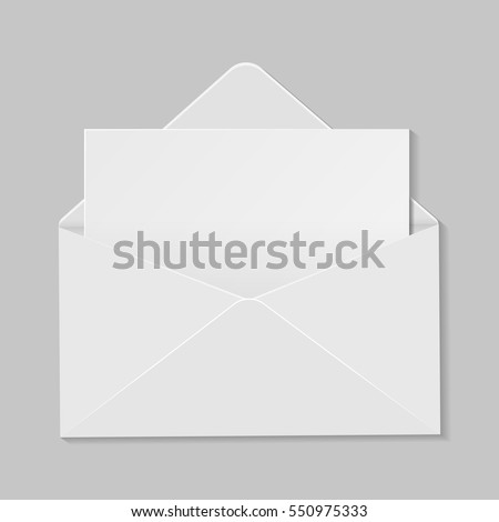 Open white envelope with invitation card realistic mockup isolated eps 10