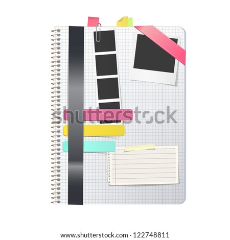 Open white notebook with several elements. Vector design.