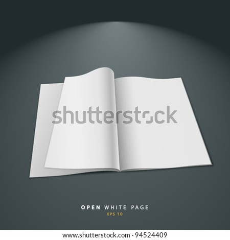 Open white page vector illustration