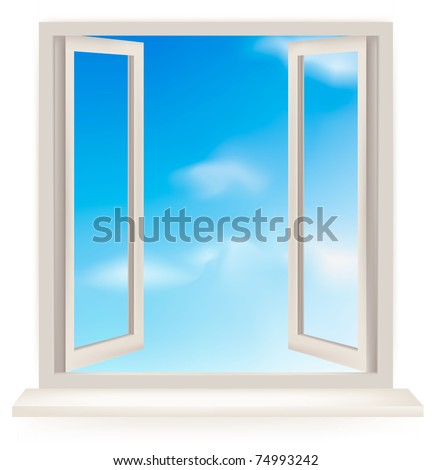 Open window against a white wall and the cloudy sky. Vector - stock vector