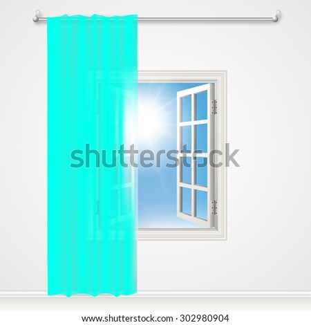open window and teal  aqua