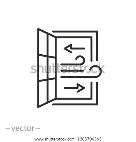 open window icon, room ventilation, sanitary hygiene, airing premises, thin line symbol on white background - editable stroke vector illustration eps10