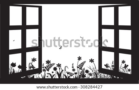 open window in summer garden
