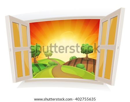 open window on a summer rural