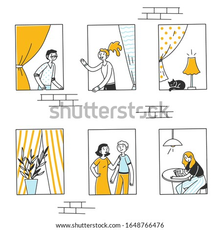 Open windows with people and cat inside apartments Exterior of building with neighbors, friends talking, reading book. Vector illustration for block of flats, condo, community concept