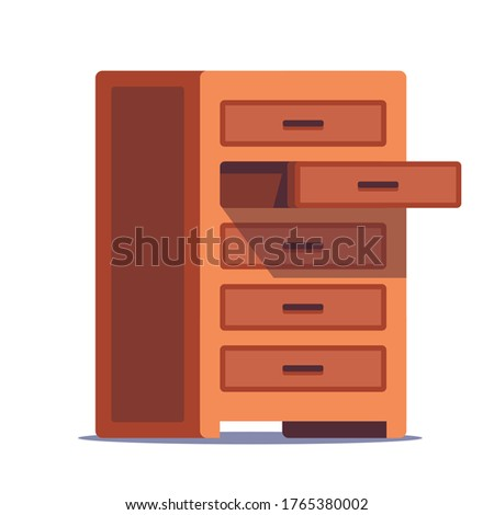 open wooden chest of drawers for storing linen on a white background. flat vector illustration Foto stock ©