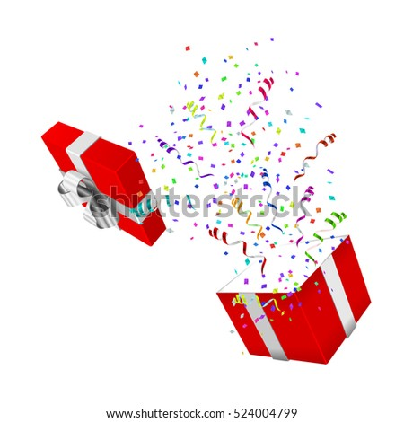 Open Xmas boxwith confetti on white background. Vector