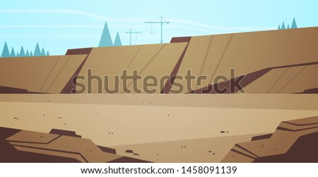 opencast mining stone quarry industrial mine production concept hills mountains background flat horizontal