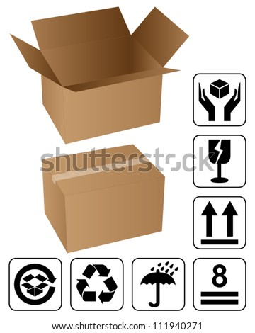 Opened and closed cardboard box with black fragile symbol