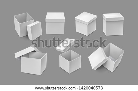 Opened and closed cardboard boxes mockups. Warehouse shipping and freight transportation. Realistic white paper boxes isolated on grey background. Blank packaging box vector illustration. #1420040573