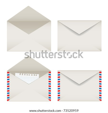 Opened and closed envelopes set
