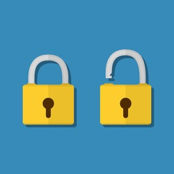 Opened and closed lock icons isolated on blue background, yellow padlocks shapes flat illustration concept for web banners, web and mobile app, web sites, printed materials, infographics.