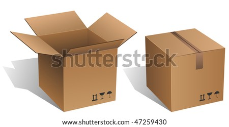 Opened and closed vector cardboard box isolated on white.
