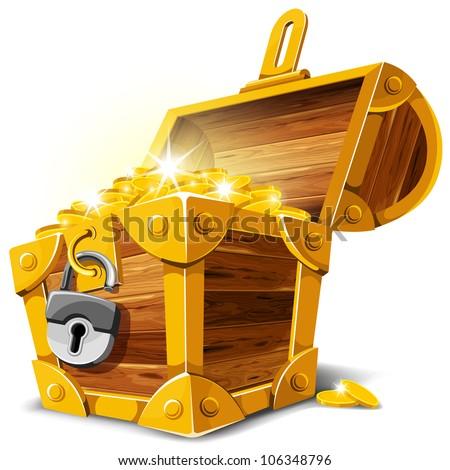 stock vector : Opened antique treasure chest. Vector illustration.