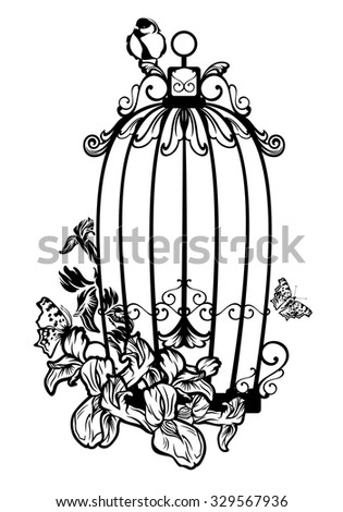 opened bird cage among iris flowers and butterflies - black and white vector design