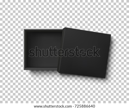 Opened black empty gift box on transparent background. Top view. Template for your presentation design, banner, brochure or poster. Vector illustration.