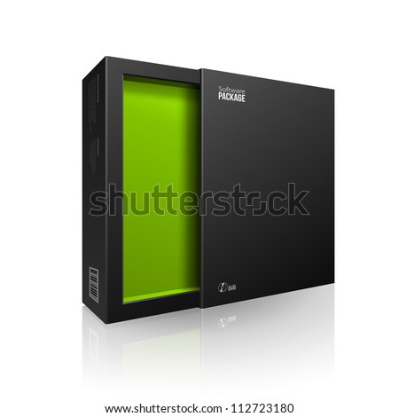 Opened Black Modern Software Package Box Green Inside For DVD, CD Disk Or Other Your Product EPS10