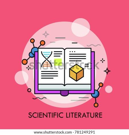 Opened book and molecular structures. Concept of scientific literature, studies and data, scholarly publication, academic publishing. Creative vector illustration for banner, poster, website.