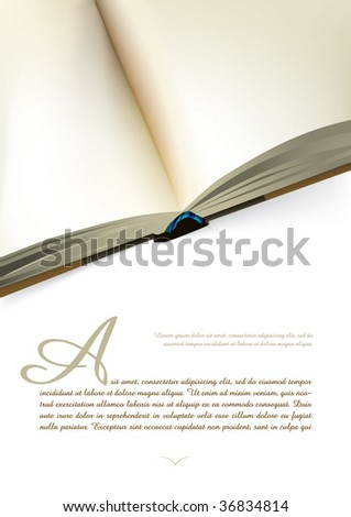 Opened book design with blank pages