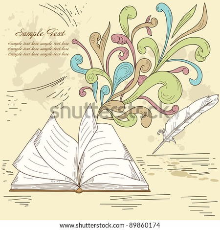 Opened book with abstract design retro elements and grunge vintage background. Vector illustration.
