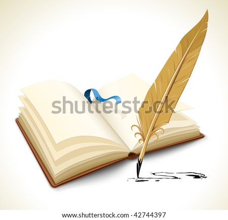 opened book with ink feather tool - vector illustration - stock vector