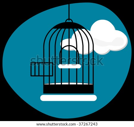 Opened cage on a cloudy landscape