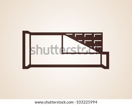 opened chocolate bar vector icon