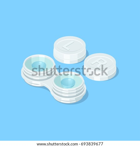 Opened contact lenses container. Isometric vector illustration