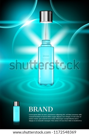 Opened cosmetic bottle with concentric water surface on green background with shining lights